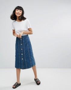 Джинсовая юбка миди со вставками M.i.h Jeans Simone - Синий