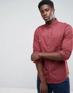 Бордовая оксфордская рубашка узкого кроя Hollister - Красный