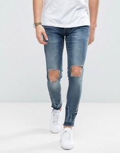 Зауженные джинсы с рваной отделкой и отворотами Brave Soul - Синий
