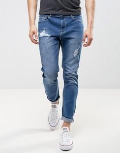 Голубые выбеленные джинсы слим LDN DNM - Синий