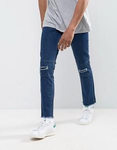 Укороченные джинсы слим с рваной отделкой и необработанными краями Hoxton Denim - Синий