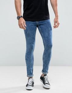 Облегающие джинсы с эффектом кислотной стирки Hoxton Denim - Синий