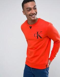 Красный свитшот с круглым вырезом и логотипом на груди Calvin Klein Jeans - Красный