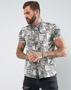 Рубашка классического кроя с принтом в винтажном стиле ASOS - Белый