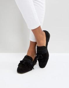 Замшевые туфли на плоской подошве с бахромой DEPP - Черный