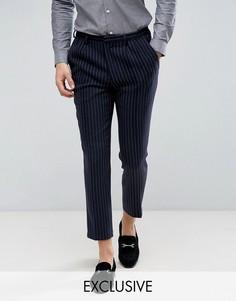 Укороченные брюки в тонкую полоску с широкими штанинами Heart & Dagger - Темно-синий