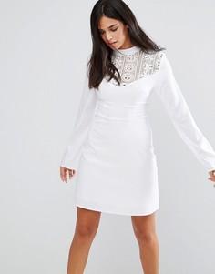 Платье с кружевной вставкой Rage - Белый