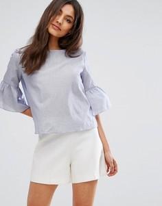 Свободная блузка с присборенными рукавами QED London - Темно-синий