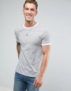 Фактурная футболка с контрастной окантовкой ASOS - Серый