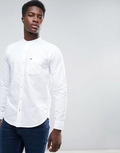 Белая оксфордская рубашка узкого кроя с воротником-стойкой Hollister - Белый