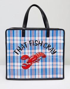 Сумка на плечо с вышитым омаром и надписью That Fish Cray Skinnydip - Мульти