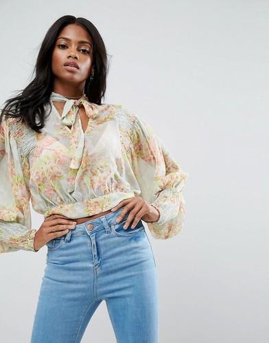 Полупрозрачная блузка с принтом ASOS - Мульти