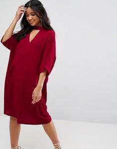 Oversize-платье миди с чокером и карманами Liquorish - Красный