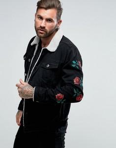Черная узкая джинсовая куртка с вышитыми розами Good For Nothing - Черный