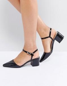 Туфли на каблуке средней высоты с ремешком вокруг щиколотки и заостренным носком Truffle Collection - Черный