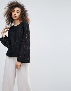 Кружевная блузка с расклешенными рукавами Gestuz Shane - Черный