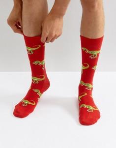 Красные носки с динозаврами Urban Eccentric - Красный