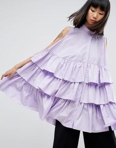 Оверсайз-рубашка без рукавов с оборками ASOS WHITE - Фиолетовый