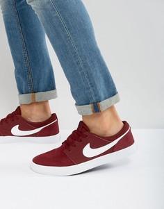 Бордовые кроссовки Nike SB Portmore 880266-610 - Красный