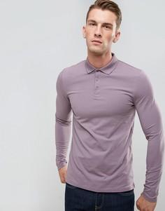 Фиолетовое обтягивающее поло с длинными рукавами ASOS - Фиолетовый