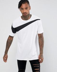 Белая свободная футболка с логотипом-галочкой Nike 856490-100 - Белый