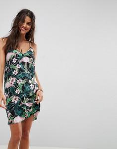Платье-комбинация мини с принтом фламинго ASOS - Мульти