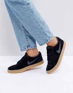 Черные замшевые кроссовки на резиновой подошве Nike SB Check Solar - Черный