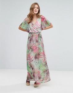 Платье макси с пальмовым принтом и рукавами-кимоно Lavand - Зеленый