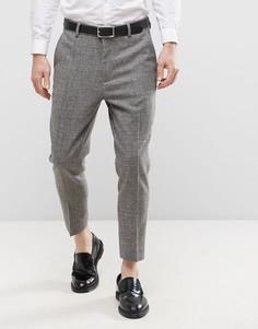 Суженные книзу темно-серые фактурные брюки из ткани с добавлением шерсти ASOS - Серый