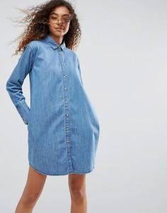 Джинсовое свободное платье-рубашка ASOS - Синий