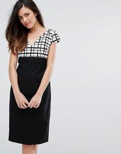 Платье-футляр с решетчатым принтом и контрастной юбкой Vesper - Черный