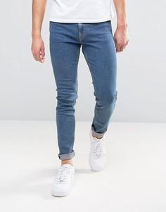 Классические выбеленные зауженные джинсы Weekday Form - Синий