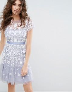 Платье из тюля с вышивкой Needle & Thread Meadow - Синий