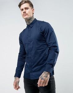 Узкая рубашка со вставками Another Influence - Темно-синий