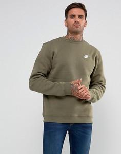 Зеленый свитшот с круглым вырезом и логотипом Nike Club 804340-222 - Зеленый