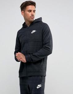 Черный трикотажный худи на молнии Nike 883025-010 - Черный