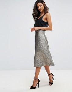Жаккардовая юбка-трапеция миди AX Paris - Мульти