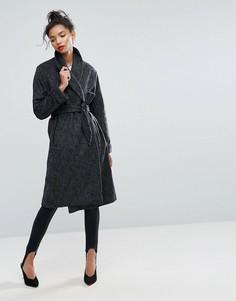 Пальто с шалевым воротником и поясом ASOS - Черный