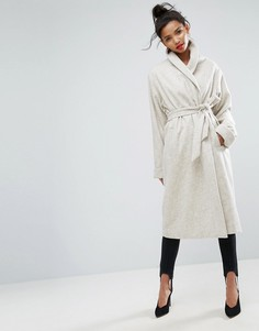 Пальто с шалевым воротником и поясом ASOS - Кремовый