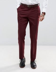 Бордовые брюки слим ASOS - Красный