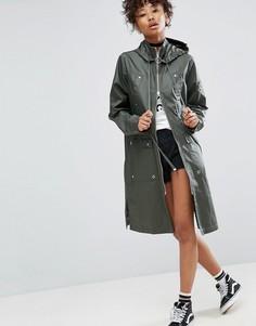 Непромокаемая куртка с вощеной отделкой ASOS - Зеленый