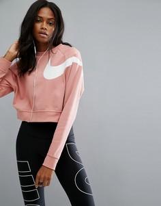 Укороченный розовый свитшот с длинными рукавами Nike - Розовый