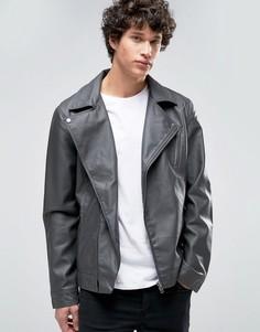 Байкерская куртка из искусственной кожи Barneys - Серый Barneys Originals