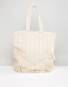Пляжная сумка-тоут с бахромой Raga Toes In The Sand - Кремовый