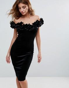 Бархатное платье-футляр с отделкой цветами в стиле 3D City Goddess - Черный