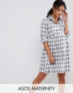 Платье-рубашка в клетку ASOS Maternity - Серый