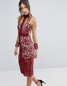 Кружевное платье с высоким воротом и сетчатыми рукавами Love Triangle - Красный