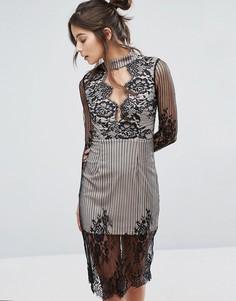 Кружевное платье с длинными рукавами и вырезом Love Triangle - Черный