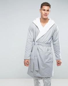 Серый халат с подкладкой из искусственного меха ASOS - Серый