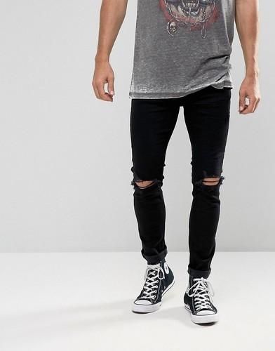 Черные джинсы с рваной отделкой Rollas Stinger - Черный
